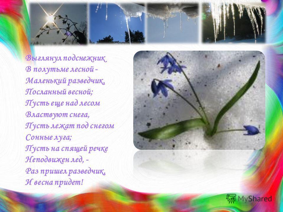 Выглянул подснежник В полутьме лесной - Маленький разведчик, Посланный весной; Пусть еще над лесом Властвуют снега, Пусть лежат под снегом Сонные луга; Пусть на спящей речке Неподвижен лед, - Раз пришел разведчик, И весна придет!