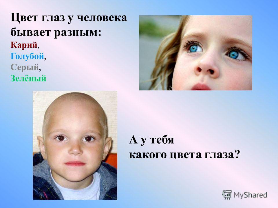 Цвет глаз у человека бывает разным: Карий, Голубой, Серый, Зелёный А у тебя какого цвета глаза?