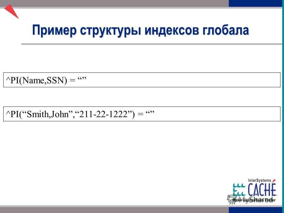 ^PI(Name,SSN) = Пример структуры индексов глобала ^PI(Smith,John,211-22-1222) =