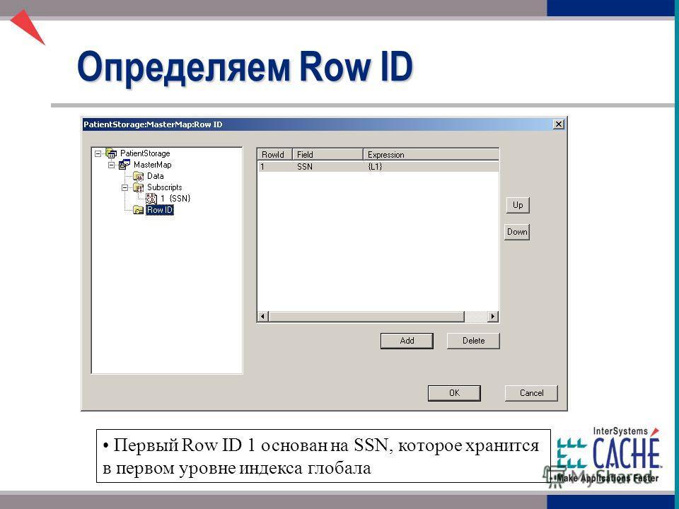 Определяем Row ID Первый Row ID 1 основан на SSN, которое хранится в первом уровне индекса глобала