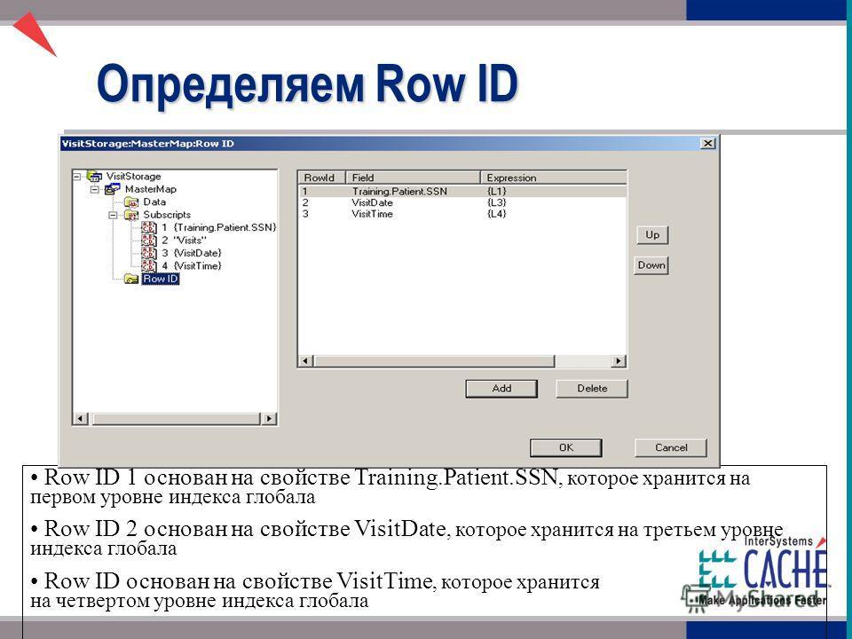Определяем Row ID Row ID 1 основан на свойстве Training.Patient.SSN, которое хранится на первом уровне индекса глобала Row ID 2 основан на свойстве VisitDate, которое хранится на третьем уровне индекса глобала Row ID основан на свойстве VisitTime, ко