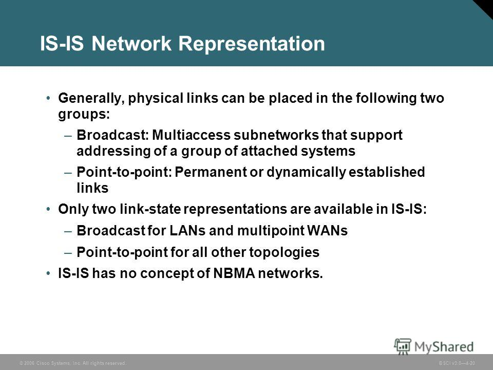 © 2006 Cisco Systems, Inc. All rights reserved. BSCI v3.04-20 IS-IS Network Representation Generally, physical links can be placed in the following two groups: –Broadcast: Multiaccess subnetworks that support addressing of a group of attached systems