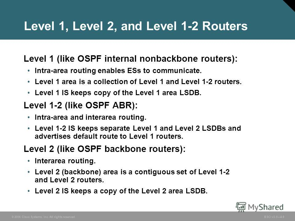 © 2006 Cisco Systems, Inc. All rights reserved. BSCI v3.04-9 Level 1, Level 2, and Level 1-2 Routers Level 1 (like OSPF internal nonbackbone routers): Intra-area routing enables ESs to communicate. Level 1 area is a collection of Level 1 and Level 1-