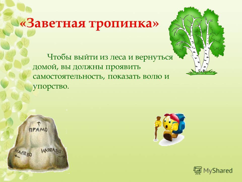 «Заветная тропинка» Чтобы выйти из леса и вернуться домой, вы должны проявить самостоятельность, показать волю и упорство.