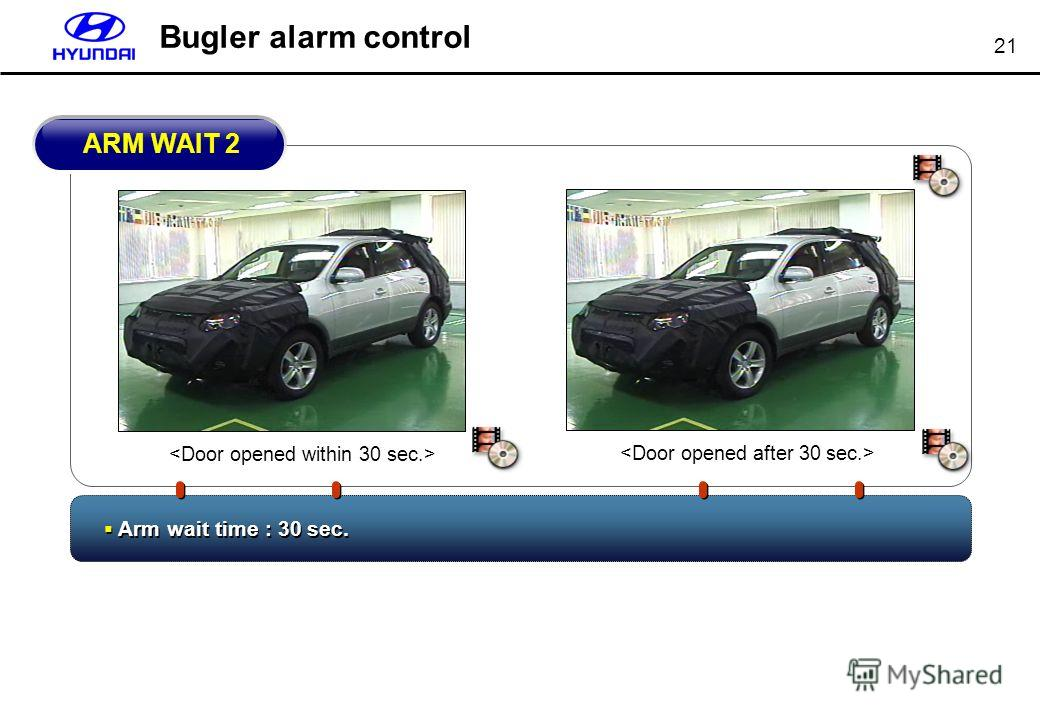 21 Bugler alarm control Arm wait time : 30 sec. ARM WAIT 2