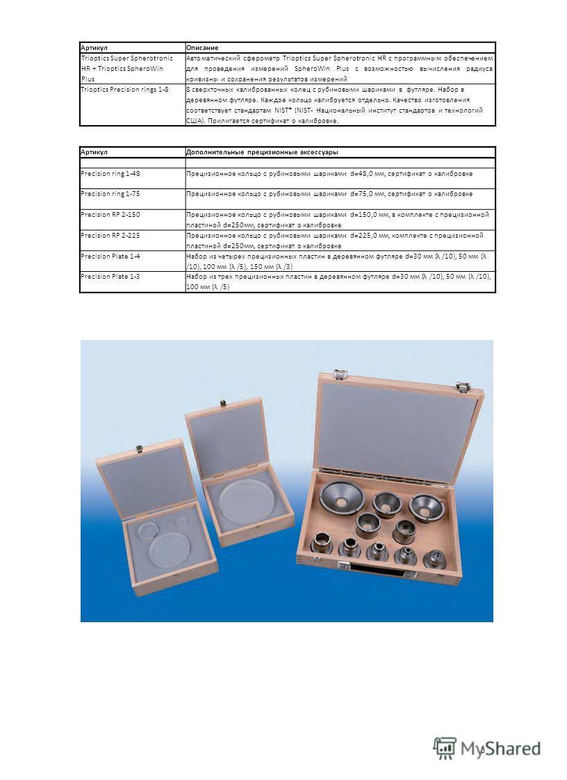 3 Артикул Описание Trioptics Super Spherotronic HR + Trioptics SpheroWin Plus Автоматический сферометр Trioptics Super Spherotronic HR с программным обеспечением для проведения измерений SpheroWin Plus с возможностью вычисления радиуса кривизны и сох