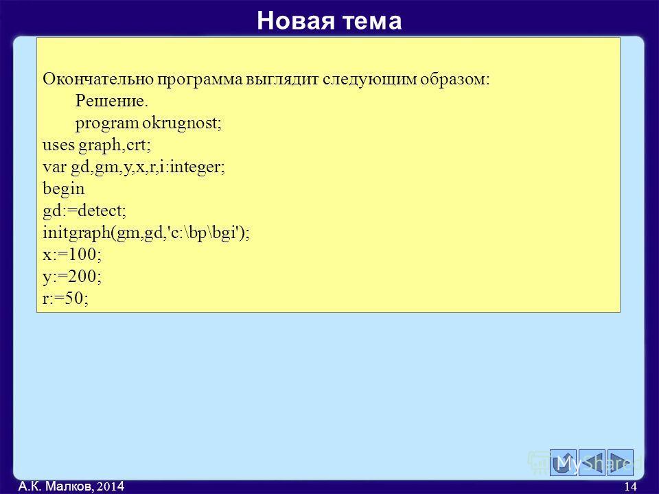 А.К. Малков, 201 4 14 Окончательно программа выглядит следующим образом: Решение. program okrugnost; uses graph,crt; var gd,gm,y,x,r,i:integer; begin gd:=detect; initgraph(gm,gd,'c:\bp\bgi'); x:=100; y:=200; r:=50; Новая тема