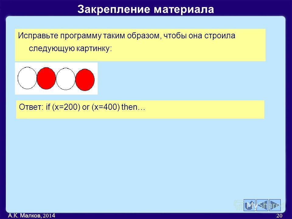 Закрепление материала А.К. Малков, 201 4 20 Исправьте программу таким образом, чтобы она строила следующую картинку: Ответ: if (x=200) or (x=400) then…