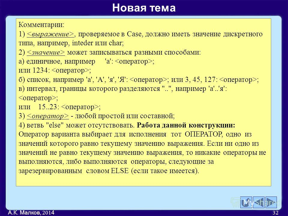 А.К. Малков, 201 4 32 Комментарии: 1), проверяемое в Case, должно иметь значение дискретного типа, например, inteder или char; 2) может записываться разными способами: а) единичное, например'а': ; или 1234: ; б) список, например 'a', 'A', 'я', 'Я': ;