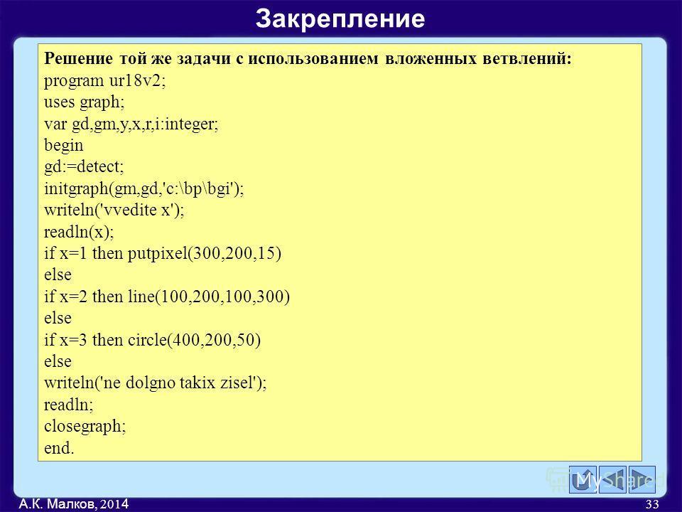 А.К. Малков, 201 4 33 Решение той же задачи с использованием вложенных ветвлений: program ur18v2; uses graph; var gd,gm,y,x,r,i:integer; begin gd:=detect; initgraph(gm,gd,'c:\bp\bgi'); writeln('vvedite x'); readln(x); if x=1 then putpixel(300,200,15)