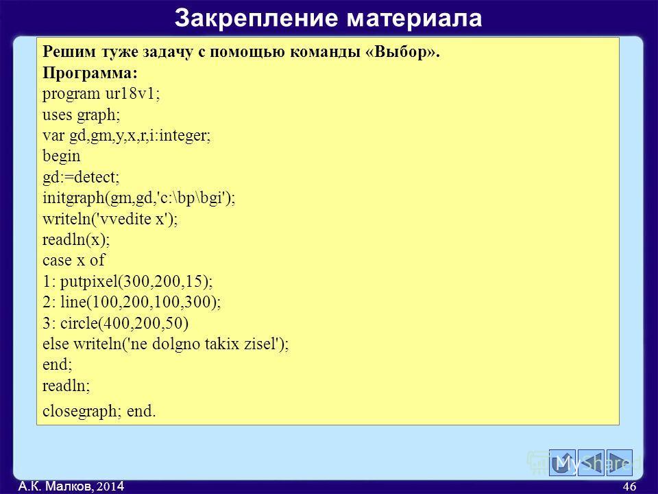 А.К. Малков, 201 4 46 Решим туже задачу с помощью команды «Выбор». Программа: program ur18v1; uses graph; var gd,gm,y,x,r,i:integer; begin gd:=detect; initgraph(gm,gd,'c:\bp\bgi'); writeln('vvedite x'); readln(x); case x of 1: putpixel(300,200,15); 2