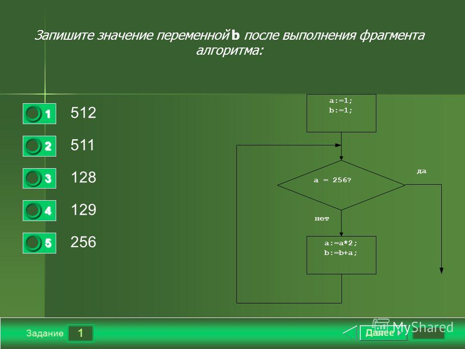 1 Задание Запишите значение переменной b после выполнения фрагмента алгоритма: 512 511 128 129 256 1 2 3 4 5 a:=a*2; b:=b+a; a:=1; b:=1; a = 256? да нет