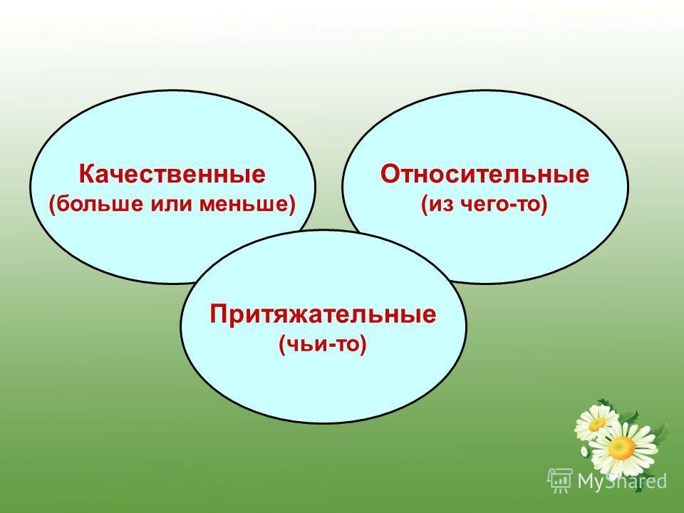 Качественные (больше или меньше) Относительные (из чего-то) Притяжательные (чьи-то)