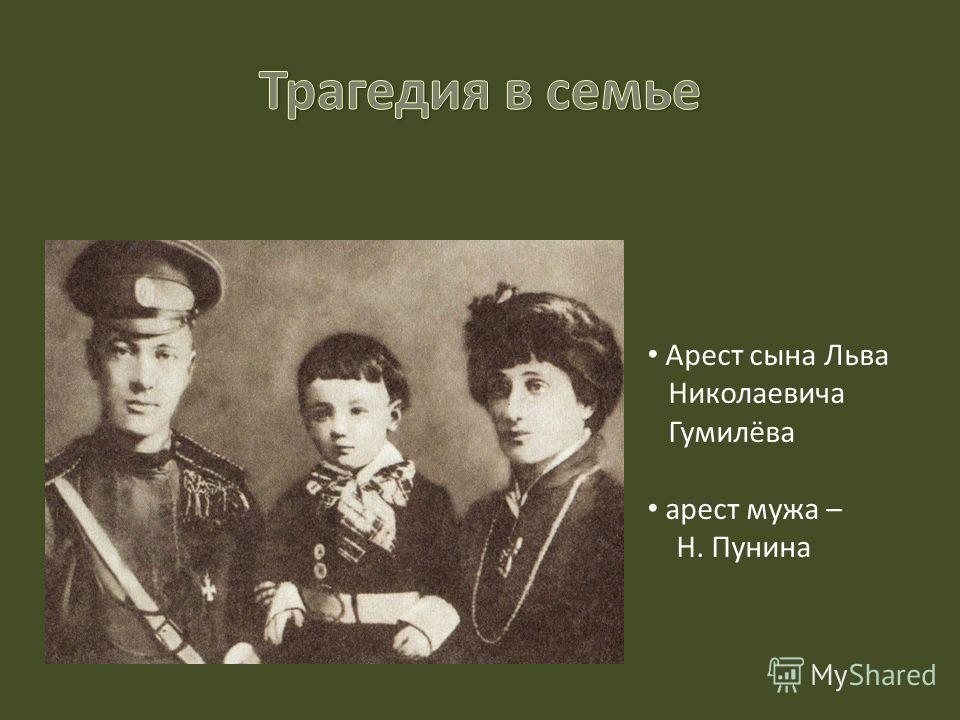 Арест сына Льва Николаевича Гумилёва арест мужа – Н. Пунина