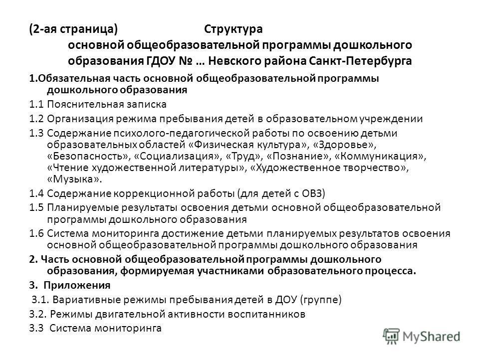 (2-ая страница) Структура основной общеобразовательной программы дошкольного образования ГДОУ … Невского района Санкт-Петербурга 1. Обязательная часть основной общеобразовательной программы дошкольного образования 1.1 Пояснительная записка 1.2 Органи