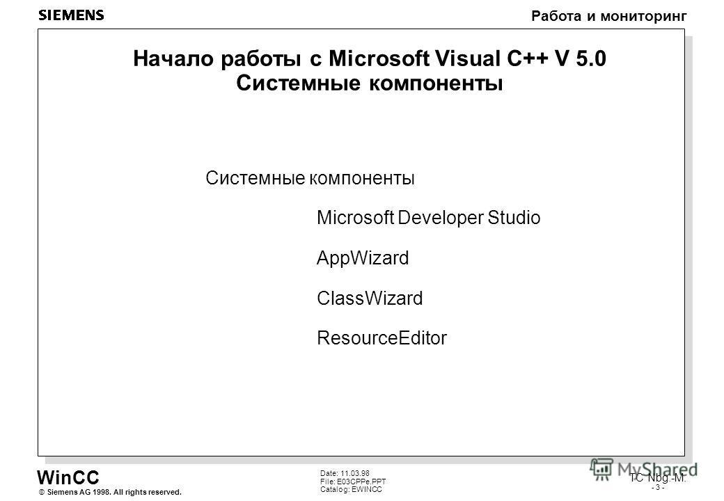 WinCC Работа и мониторинг Siemens AG 1998. All rights reserved.© TC Nbg.-M. - 3 - Date: 11.03.98 File: E03CPPe.PPT Catalog: EWINCC Начало работы с Microsoft Visual C++ V 5.0 Системные компоненты Системные компоненты Microsoft Developer Studio AppWiza