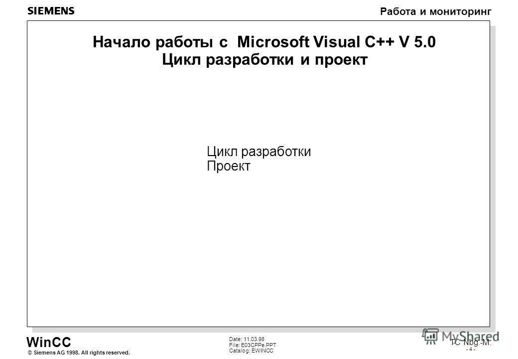 WinCC Работа и мониторинг Siemens AG 1998. All rights reserved.© TC Nbg.-M. - 4 - Date: 11.03.98 File: E03CPPe.PPT Catalog: EWINCC Начало работы с Microsoft Visual C++ V 5.0 Цикл разработки и проект Цикл разработки Проект