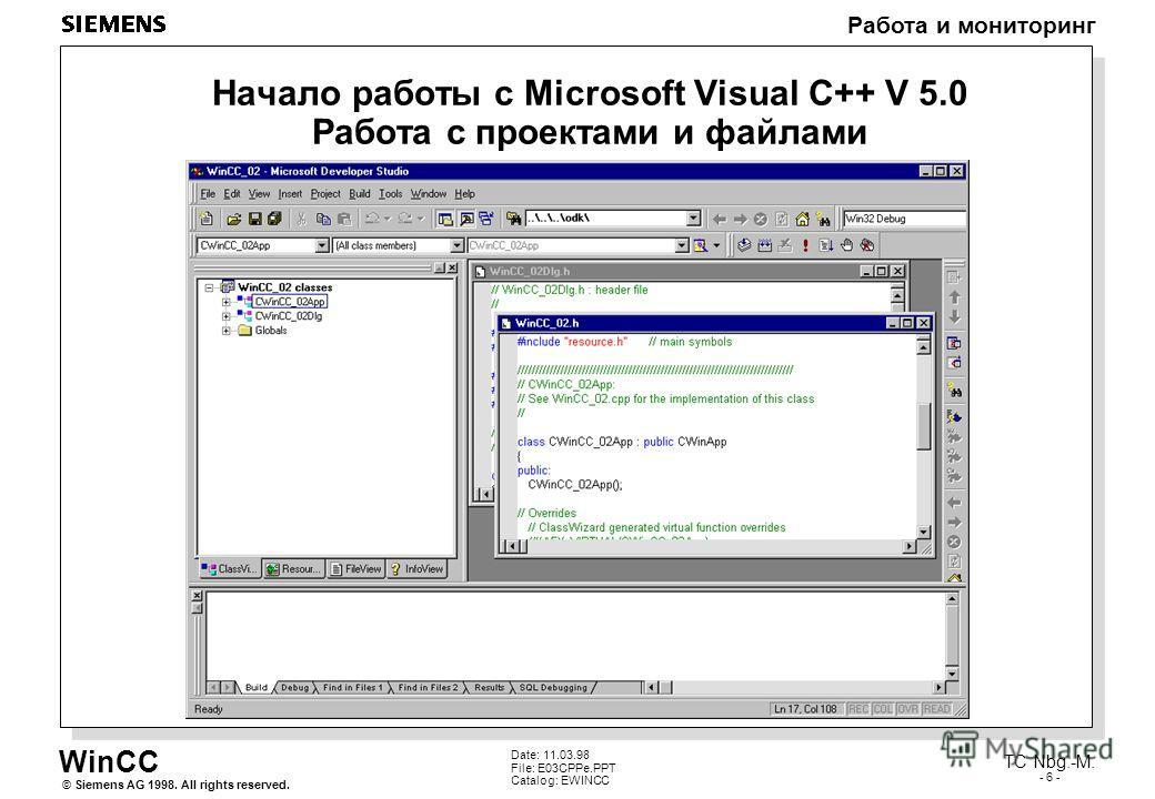 WinCC Работа и мониторинг Siemens AG 1998. All rights reserved.© TC Nbg.-M. - 6 - Date: 11.03.98 File: E03CPPe.PPT Catalog: EWINCC Начало работы с Microsoft Visual C++ V 5.0 Работа с проектами и файлами