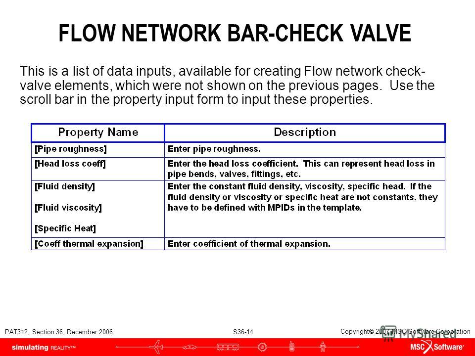 PAT312, Section 36, December 2006 S36-14 Copyright 2007 MSC.Software Corporation FLOW NETWORK BAR-CHECK VALVE This is a list of data inputs, available for creating Flow network check- valve elements, which were not shown on the previous pages. Use th