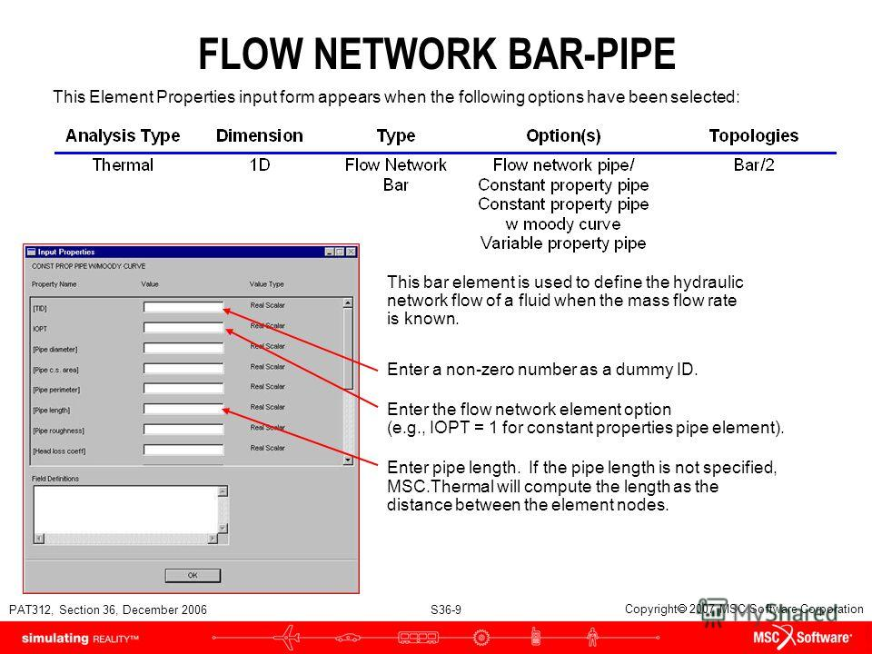 PAT312, Section 36, December 2006 S36-9 Copyright 2007 MSC.Software Corporation FLOW NETWORK BAR-PIPE Enter a non-zero number as a dummy ID. Enter the flow network element option (e.g., IOPT = 1 for constant properties pipe element). Enter pipe lengt