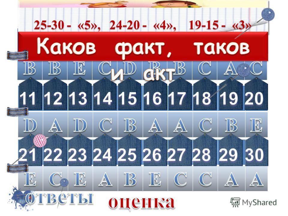 коды правильных ответов 25-30 - «5», 24-20 - «4», 19-15 - «3»
