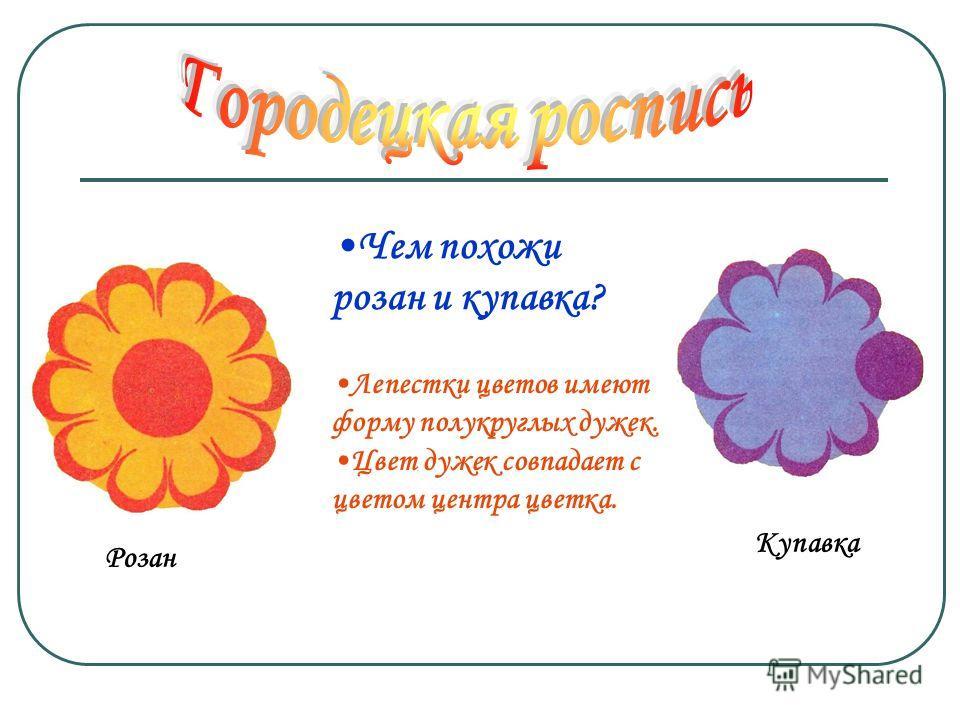 Розан Чем похожи розан и купавка? Лепестки цветов имеют форму полукруглых дужек. Цвет дужек совпадает с цветом центра цветка. Купавка