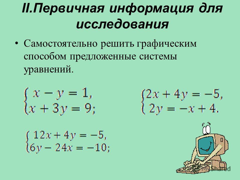 II.Первичная информация для исследования С амостоятельно решить графическим способом предложенные системы уравнений.