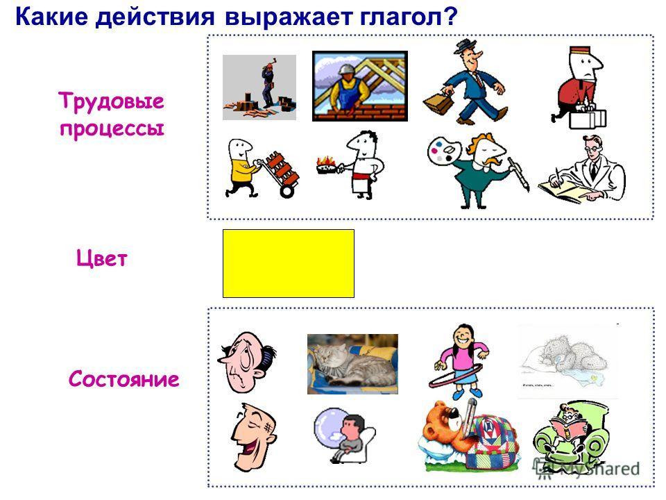 Трудовые процессы Какие действия выражает глагол? Цвет Состояние