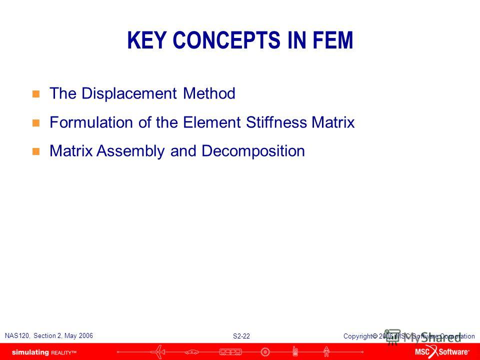 S2-22 NAS120, Section 2, May 2006 Copyright 2006 MSC.Software Corporation KEY CONCEPTS IN FEM n The Displacement Method n Formulation of the Element Stiffness Matrix n Matrix Assembly and Decomposition