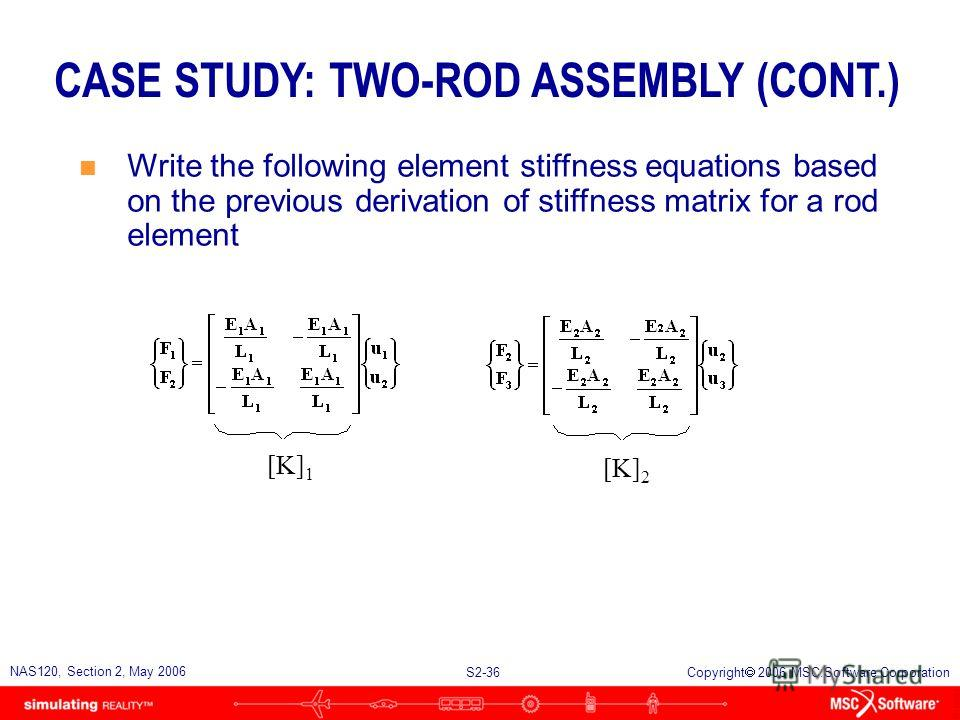 S2-36 NAS120, Section 2, May 2006 Copyright 2006 MSC.Software Corporation CASE STUDY: TWO-ROD ASSEMBLY (CONT.) n Write the following element stiffness equations based on the previous derivation of stiffness matrix for a rod element [K] 1 [K] 2