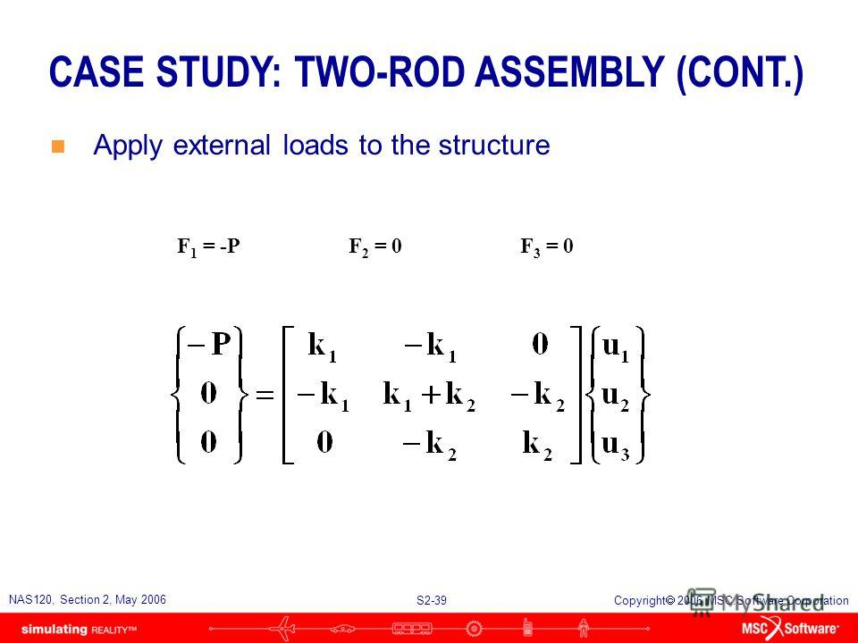 S2-39 NAS120, Section 2, May 2006 Copyright 2006 MSC.Software Corporation CASE STUDY: TWO-ROD ASSEMBLY (CONT.) n Apply external loads to the structure F 1 = -PF 2 = 0F 3 = 0