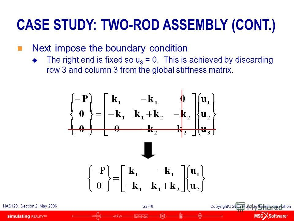 S2-40 NAS120, Section 2, May 2006 Copyright 2006 MSC.Software Corporation CASE STUDY: TWO-ROD ASSEMBLY (CONT.) n Next impose the boundary condition u The right end is fixed so u 3 = 0. This is achieved by discarding row 3 and column 3 from the global