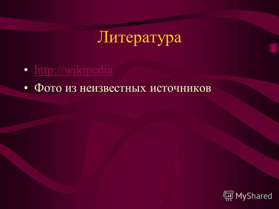 Литература http://wikipedia Фото из неизвестных источников