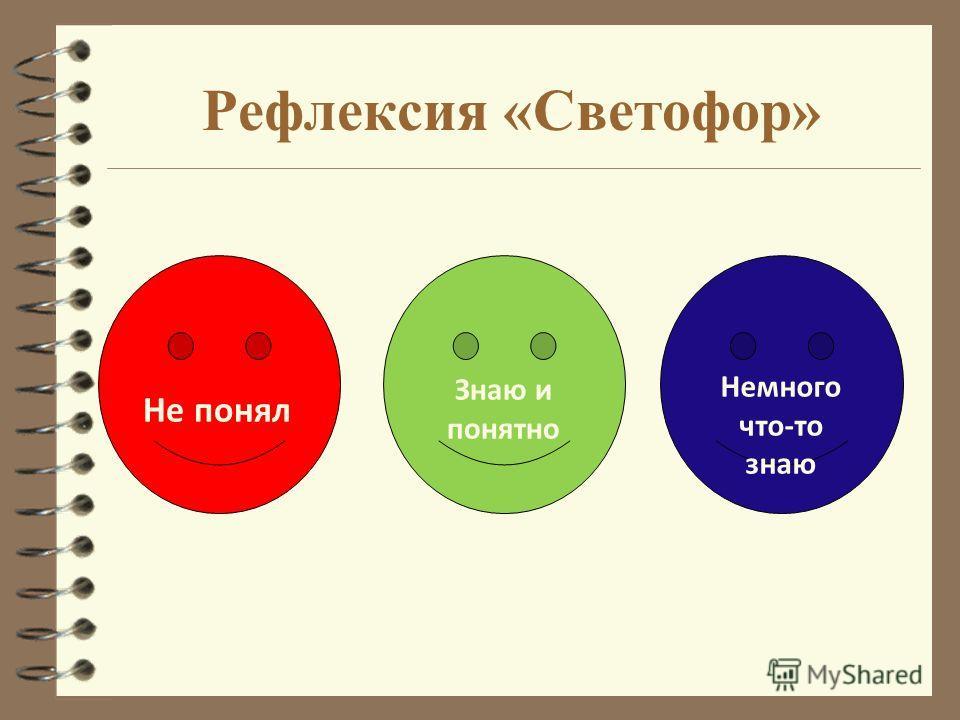 Рефлексия «Светофор» Не понял Знаю и понятно Немного что-то знаю