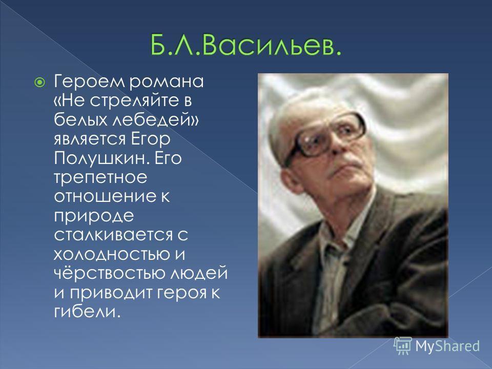 Героем романа «Не стреляйте в белых лебедей» является Егор Полушкин. Его трепетное отношение к природе сталкивается с холодностью и чёрствостью людей и приводит героя к гибели.