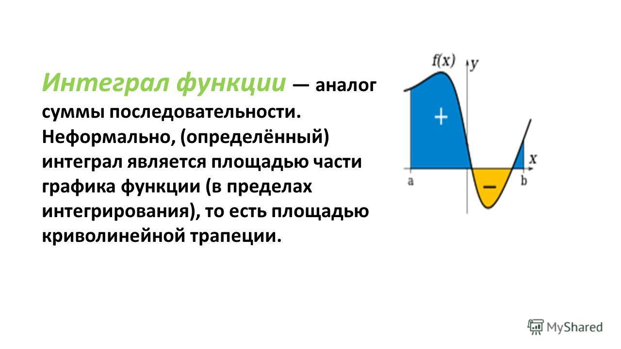 Интеграл функции аналог суммы последовательности. Неформально, ( определённый ) интеграл является площадью части графика функции ( в пределах интегрирования ), то есть площадью криволинейной трапеции.