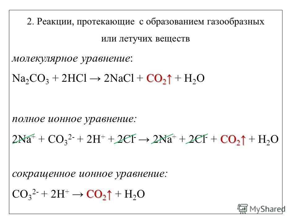 2. Реакции, протекающие с образованием газообразных или летучих веществ молекулярное уравнение: CO 2 Na 2 CO 3 + 2HCl 2NaCl + CO 2 + H 2 O полное ионное уравнение: CO 2 2Na + + CO 3 2- + 2H + + 2Cl - 2Na + + 2Cl - + CO 2 + H 2 O сокращенное ионное ур