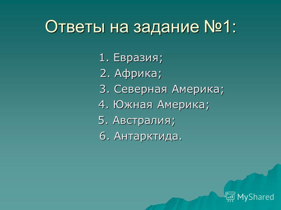 Ответы на задание 1: 1. Евразия; 2. Африка; 3. Северная Америка; 3. Северная Америка; 4. Южная Америка; 4. Южная Америка; 5. Австралия; 5. Австралия; 6. Антарктида. 6. Антарктида.