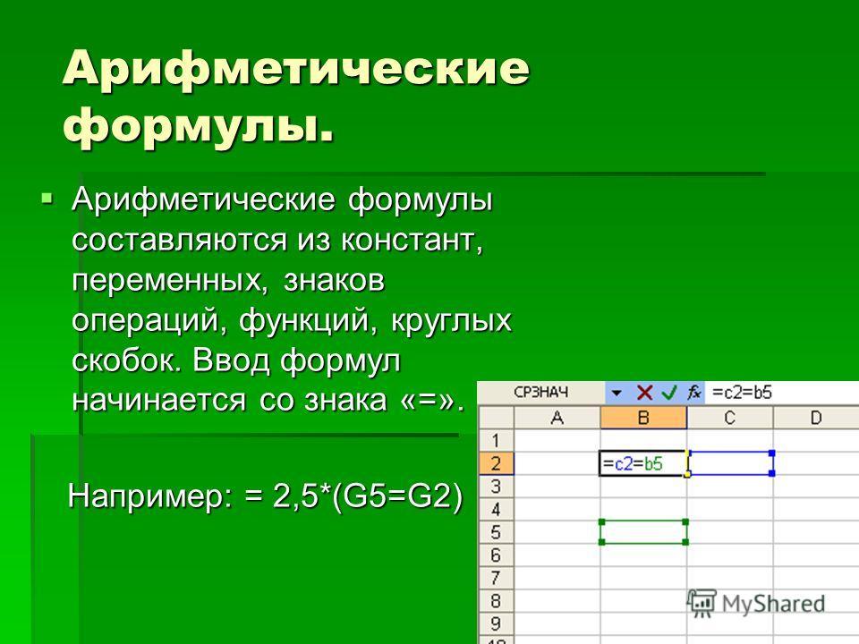 Арифметические формулы. Арифметические формулы. Арифметические формулы составляются из констант, переменных, знаков операций, функций, круглых скобок. Ввод формул начинается со знака «=». Арифметические формулы составляются из констант, переменных, з