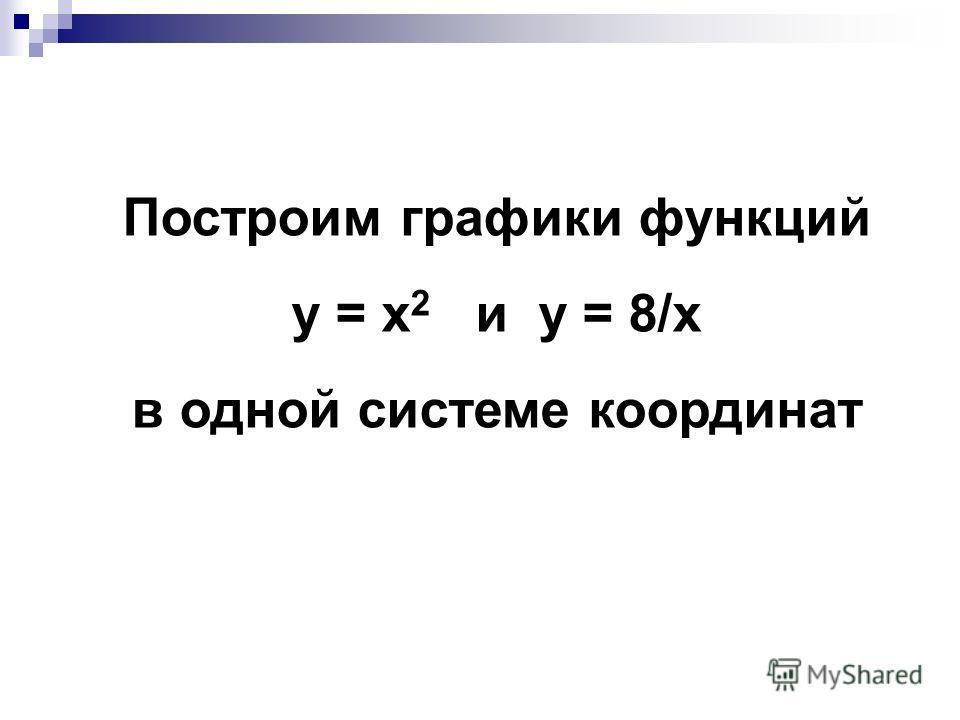 Построим графики функций у = x 2 и у = 8/x в одной системе координат