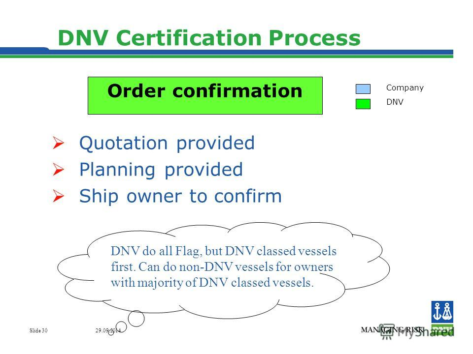 29.09.2014 Slide 30 DNV Certification Process Quotation provided Planning provided Ship owner to confirm Company DNV Order confirmation DNV do all Flag, but DNV classed vessels first. Can do non-DNV vessels for owners with majority of DNV classed ves