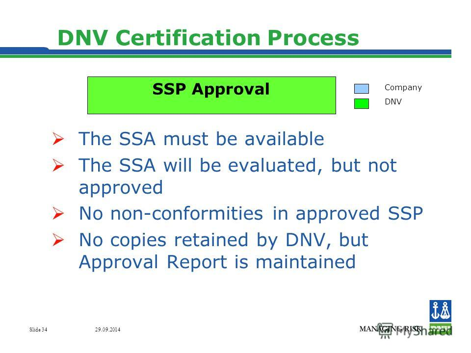 29.09.2014 Slide 34 DNV Certification Process The SSA must be available The SSA will be evaluated, but not approved No non-conformities in approved SSP No copies retained by DNV, but Approval Report is maintained Company DNV SSP Approval