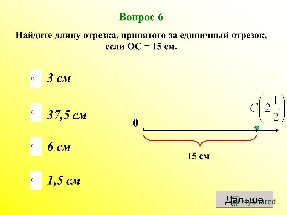 6 см 37,5 см 1,5 см 3 см Вопрос 6 Найдите длину отрезка, принятого за единичный отрезок, если ОС = 15 см. 0 15 см