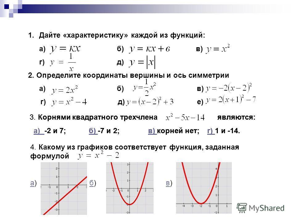 1. Дайте «характеристику» каждой из функций: а) б) в) г) д) 2. Определите координаты вершины и ось симметрии а) б) в) г) д) е) 3. Корнями квадратного трехчлена являются: а) -2 и 7;б) -7 и 2;в) корней нет;г) 1 и -14.а) 4. Какому из графиков соответств