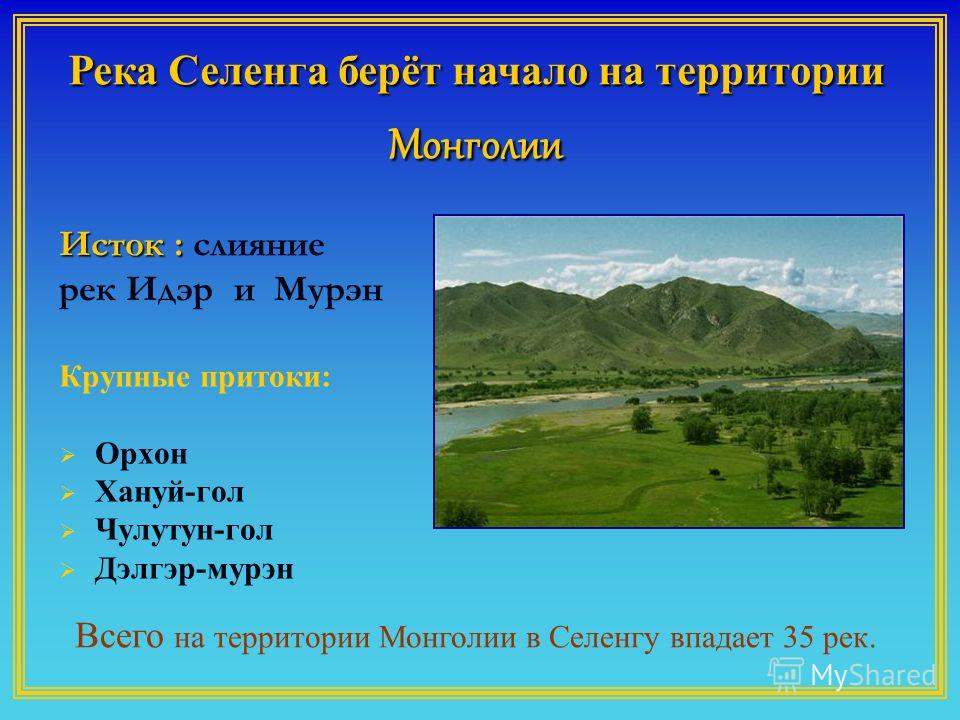 Крупные притоки: Орхон Хануй-гол Чулутун-гол Дэлгэр-мурин Река Селенга берёт начало на территории Монголии Всего на территории Монголии в Селенгу впадает 35 рек. Исток : Исток : слияние рек Идэр и Мурэн