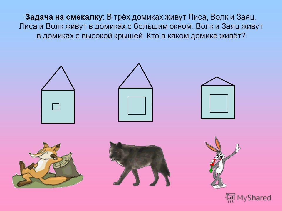 Задача на смекалку: В трёх домиках живут Лиса, Волк и Заяц. Лиса и Волк живут в домиках с большим окном. Волк и Заяц живут в домиках с высокой крышей. Кто в каком домике живёт?