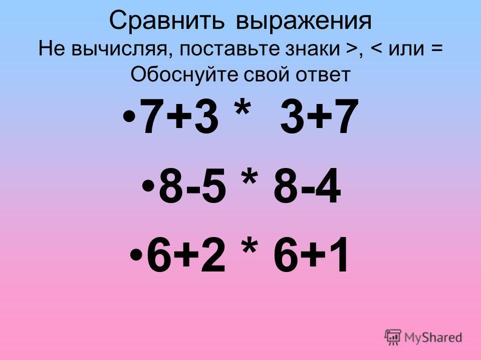 Сравнить выражения Не вычисляя, поставьте знаки >, < или = Обоснуйте свой ответ 7+3 * 3+7 8-5 * 8-4 6+2 * 6+1