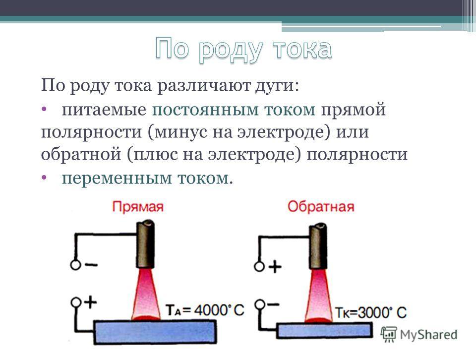 По роду тока различают дуги: питаемые постоянным током прямой полярности (минус на электроде) или обратной (плюс на электроде) полярности переменным током.