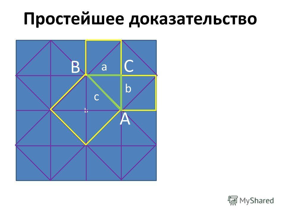 b Простейшее доказательство C A B a b c
