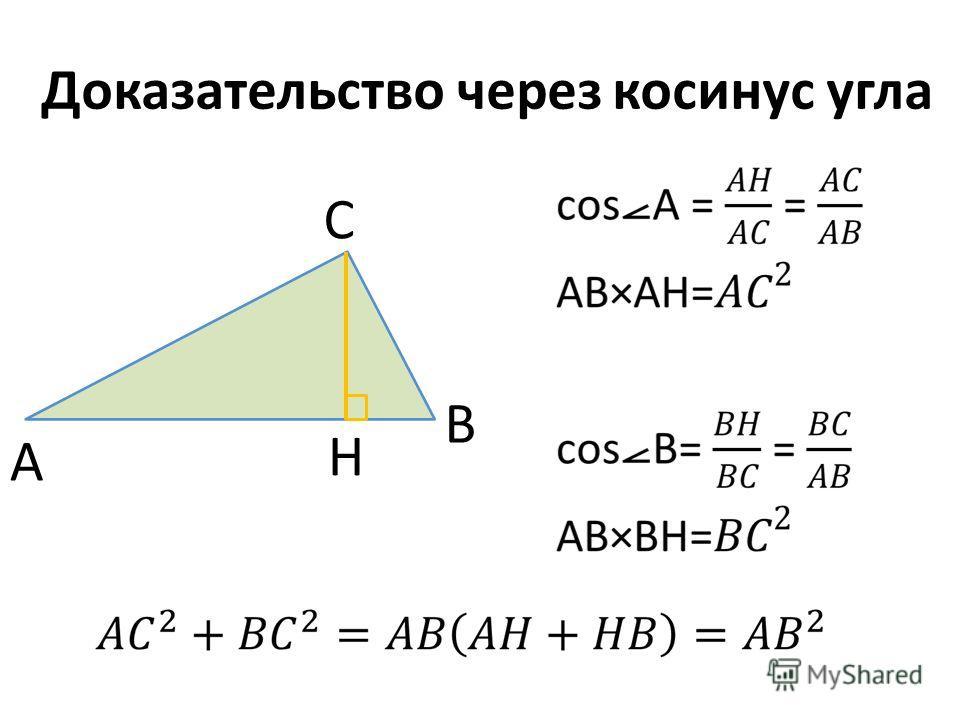 Доказательство через косинус угла A B C H